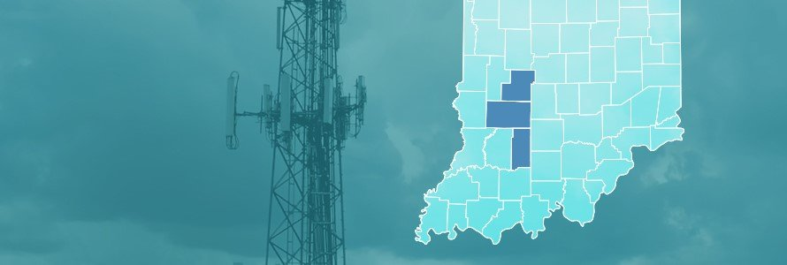 County map of Indiana, cell tower